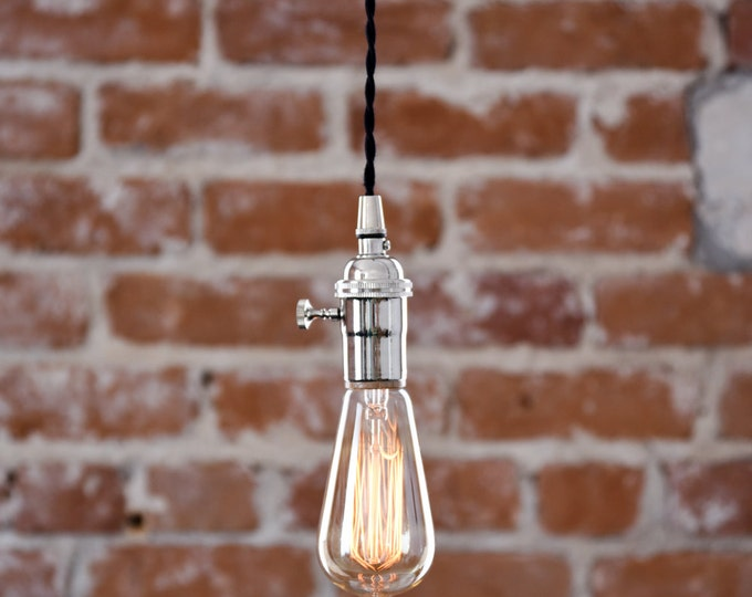 Free Shipping! Industrial Plug In Pendant Light Chrome Polished Nickel Bare Bulb Socket Edison Bulb Canopy Rayon Cloth Covered Black Wire