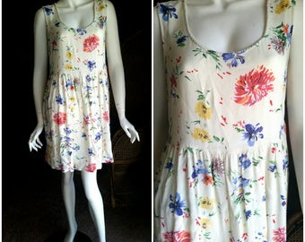 90's Floral Babydoll Dress, Honolua Surf Co. Hawaii Dress, 90's Summer Dress, Cream Floral Dress, Light Summer Dress, Hipster Dress, MD/LG