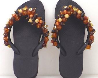 vintage women shoes | size 4.5 | 90s Havaianas sandal | beaded flip flops | bohemian thong sandal | Brazilian sandal | Hawaiian beach zori