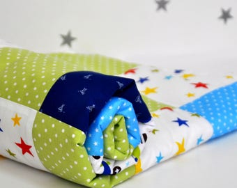 Baby Quilt Handmade, Minky Quilt, Baby Boy Blanket, Planes Baby Bedding, Minky Blanket, Stars Nursery, Patchwork Blanket in Blue Green White