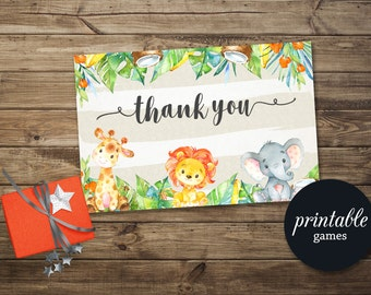 Baby Shower Thank you Card Printable, Jungle Thank you Card, Safari Thank you Card, Animals Thank you Card, Jungle Birthday Thank You Card