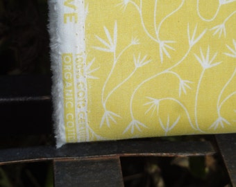 Cloud9 Fabric, 100% Organic Cotton, Quilting Fabric, Fabric by the Yard, Dandelion Yellow Fabric, White Fabric