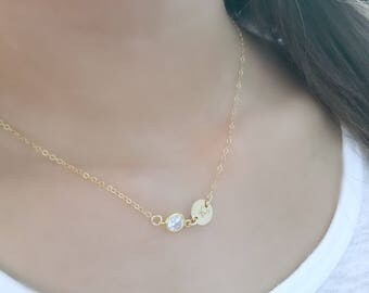 CZ choker Initial choker Personalized Necklace Monogram Initial Necklace Monogram Jewelry 14k Gold Filled circle disc custom letter April