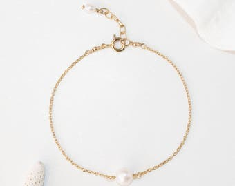 Single White Pearl Bracelet, 14K Gold filled, Genuine Freshwater Pearls, June Birthstone, Floating Pearl Bracelet, Bridesmaid Bracelet