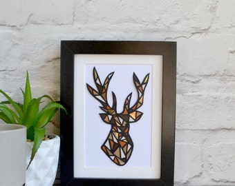 Stag art , stag wall art , framed stag , geometric stag , stag papercut , stag head picture , stag print , stag gift , vintage gift