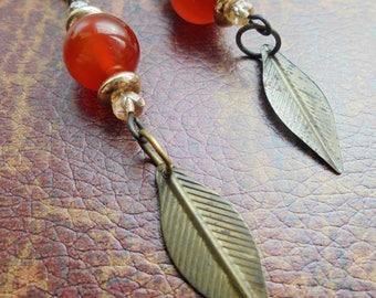 Boho Bronze and Gold Leaf Earrings