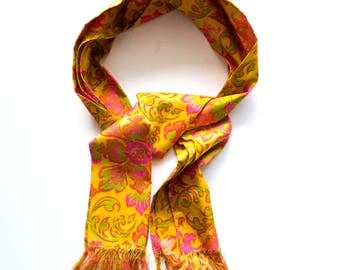 Vintage 60s 70s Psychedelic Floral Silk Scarf // Gold Pink Paisley Long Skinny Scarf