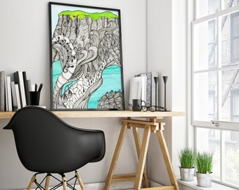 Wall Art Print Black and White Psychedelic Ink Drawing Decorative Doodles Green Blue Sea Landscape