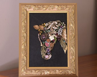 Horse Bust, Vintage Jewelry Art, Collage, Framed Jewelry Art