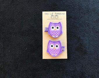 Purple Owl Hair Clip, Lavender Feltie Owl Hair Clip, Owl Toddler Hair Clip, Owl Baby Girl Hair Clip, Lavender Baby Clip, Purple Chevron Clip