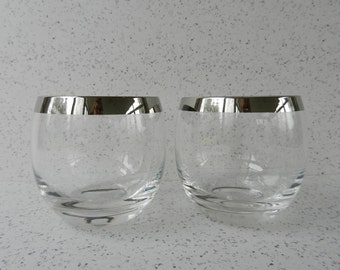 Pair of Mid Century Roly Poly Silver Band Bar Glasses, Two, 6 Ounce, Whiskey, Stemless