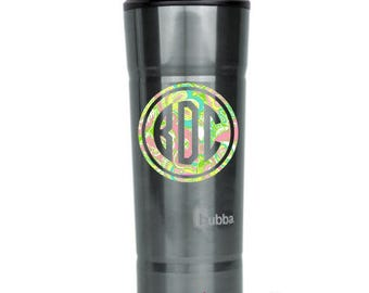"""Preppy Print Double Circle Monogram Decal - Choose 2"""", 3"""", 4"""", 5"""", 6"""", 7"""" or 8""""- perfect for phone/tablet cases, waterbottles, cars and more"""