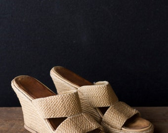 Vintage Espadrille Wedges - Natural Fiber Strap Sandals - Size 5.5 / 6