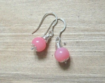 Gemstone earrings Real silver earrings Rose quartz semi-precious gemstone earrings Light pink earrings  Birthday gift Earrings gift