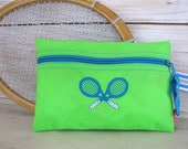 Tennis Gift - Tennis Cosmetic Bag - Lime Green and Turquoise - Crossed Tennis Rackets #113