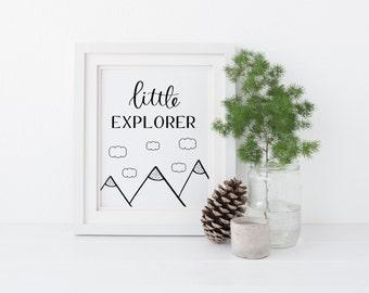 Little Explorer printable, Little Explorer Sign, Rustic Woodland Baby Nursery, Calligraphy Nursery decor, Instant Download