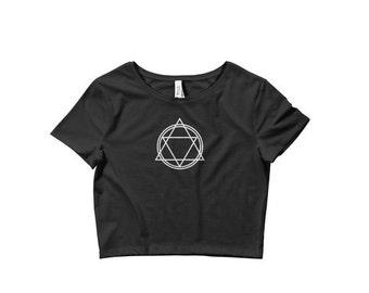 Human transmutation circle crop top, Witch symbol top, Punk crop top, Satanic clothing