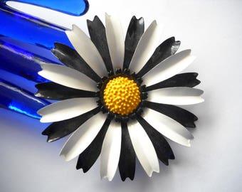 Vintage Brooch Huge Enamel Metal Daisy Black White Yellow Flower Brooch Statement Brooch Flower Power Pop Art 1960s Hippie
