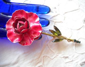 Vintage Weiss Enamel Flower Brooch w Green Rhinestone Leaves Designer Signed Red Enamel Woodland Folk Festival