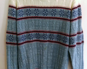 Vintage Cable Knit Sweater // Winter Wonderland Sweater // 80s Winter Sweater // Size M