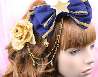 Lolita hair accessory-navy and gold-navy bow-classic lolita-gothic lolita accessory-rose clip-gold chain-gold star charms