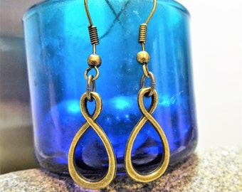 BRONZE INFINITY EARRINGS - bronze dangle earrings