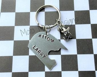 Motocross  Helmet Keychain - Motocross Keychain - Custom Keychain - Dirt Bike - Motocross Gift - Racing - Moto Mom- Dirt Track Racing