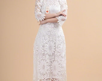 Elbow Sleeve Lace Maxi Dress with Asymmetric Hem - Asymmetric Lace Prom Dress - Evening Dress - Bridesmaid Dress - White Lace Dress - A237