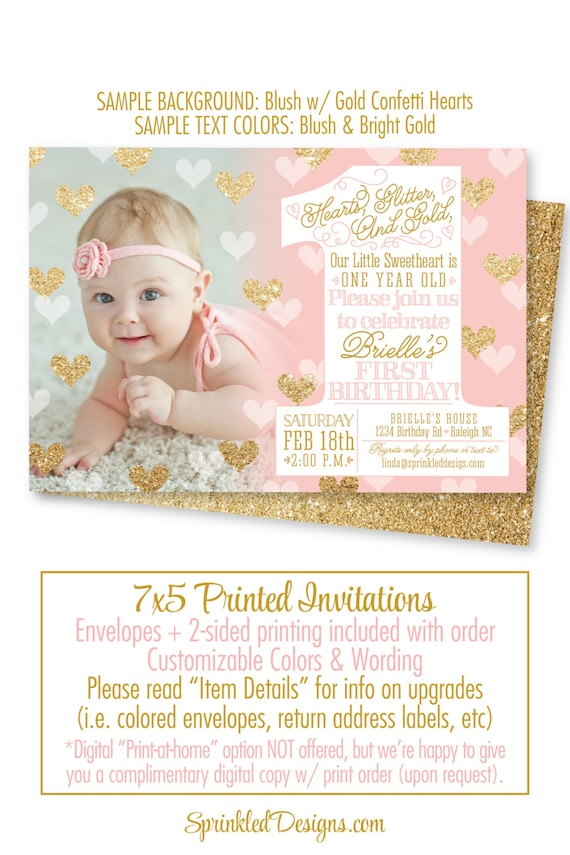 Our Little Sweetheart St Birthday Invitation One Year Old - Digital first birthday invitation