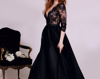 Black lace deep V-neck wedding dress with long sleeves // A-Line wedding dress