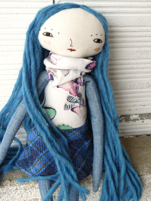 Art doll with long pure wool hair and. Embroidered face. 32 cm. Butterflies fabric