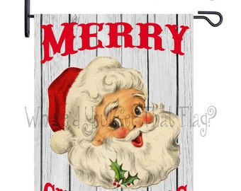 Custom Personalized Garden Flag Vintage Santa