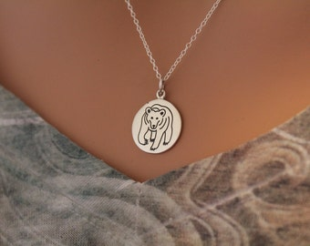Sterling Silver Bear Spirit Animal Charm Necklace, Bear Necklace, Bear Spirit Animal Necklace, Bear Charm Necklace, Bear Pendant Necklace
