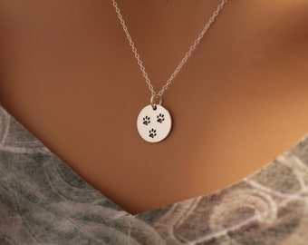 Sterling Silver Three Paw Print Circular Pendant Necklace, Three Dog Charm Necklace, Three Cat Charm Necklace, Paw Print Pendant Necklace