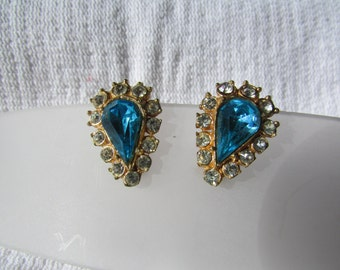 Vintage blue and clear rhinestone clip on earrings wedding bridal prom