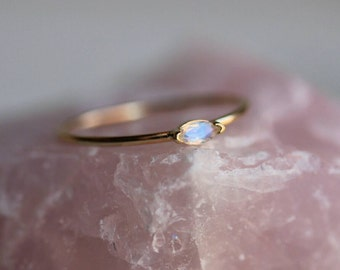 14K Marquise Moonstone Ring, Blue Rainbow Moonstone, Solitaire Ring, Stacking Ring, Tiny Stone Ring, Rose, White, Yellow