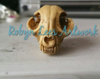 3D Antiqued Resin Cat Kitten Skull Brooch. Gothic Victorian Costume, Steampunk Anatomy, Nature, Anatomical Animal, Pets