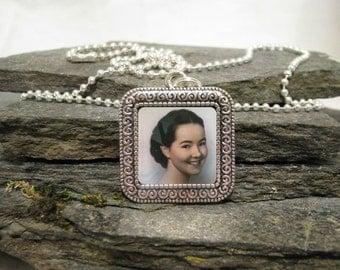 Medium Square Charm Pendant Necklace, Custom Photo Pendant Necklace