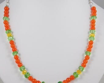 Yellow Green Orange Pendant Necklace, Dyed Jade Beads, Yellow Crystals, Longer Necklace with Earrings