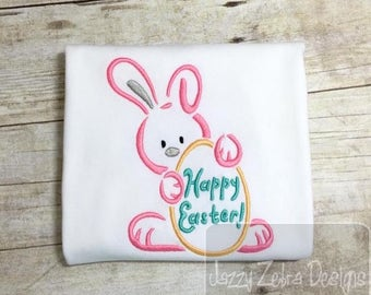 Happy Easter Bunny Satin Stitch Outline Embroidery Design - Easter embroidery design - rabbit embroidery design - bunny embroidery design
