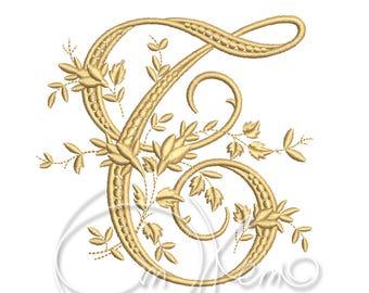MACHINE EMBROIDERY DESIGN - Victorian Letter T embroidery, Victorian alphabet embroidery, Antique alphabet embroidery, Monogram embroidery