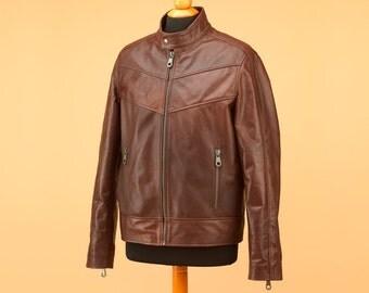 Brown leather jacket for men • custom jacket • mens leather jacket • biker jacket • brown jacket • men jacket • motorcycle jacket