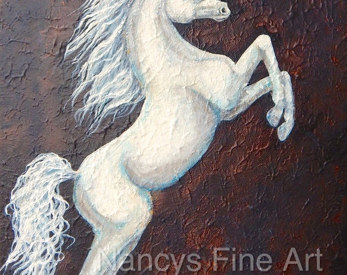 Original unicorn painting on canvas, white fantasy unicorn art, abstract horse artwork by Nancy Quiaoit at Nancys Fine Art.