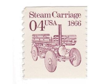 10 Vintage Unused Postage Stamps - 1991 4c Steam Carriage - Item No. 2451