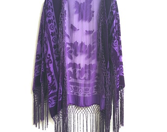 Kimono  Boho Purple  Kimono Gypsy Fringe  Kimono Cardigan Tassels  Jacket