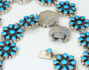 Vintage Taxco Sterling Silver Turquoise Petit Point Necklace Earrings Set Signed