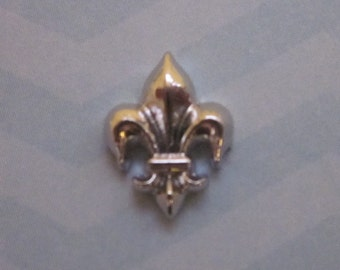 Fleur De Lis Charm for Memory Locket, Glass Locket