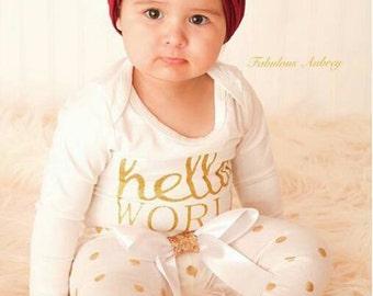 Metallic Gold Polka dot leggings - Baby  leggings - Kids leggings
