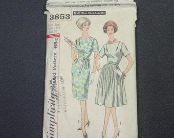 Simplicity 3853  Half Size 18 1/2 Slenderette Dress Pattern from 1961