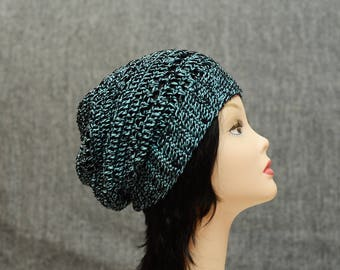 Blue black cotton crochet Slouchy Beanie hat Summer, womens summer hats